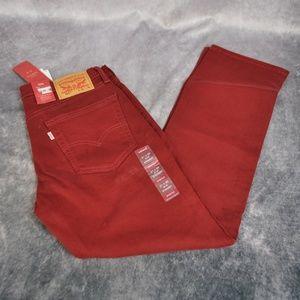 Levi's 514 Red Straight Leg Stretch Jeans 33 x 34